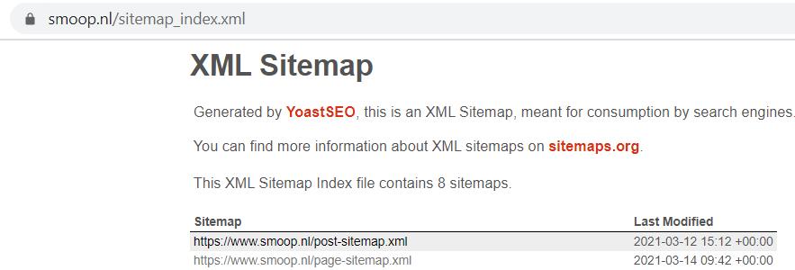Voorbeeld sitemap