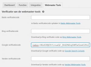 Yoast webmaster tools verificatie