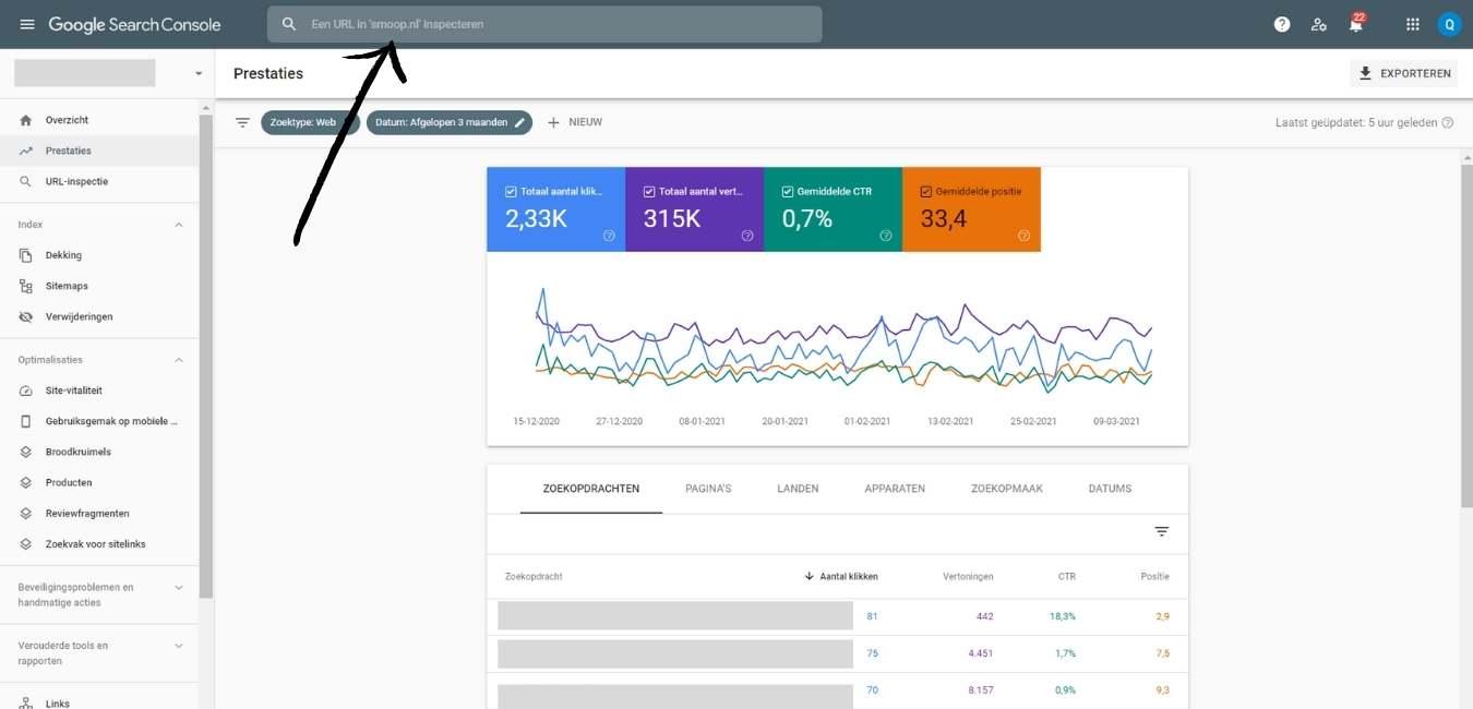 indexering aanvragen in google search console