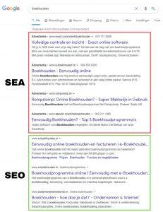 Voorbeeld verschil SEA en SEO